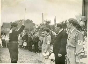 В.Н. Быков на районном слете (1-й справа). 1968г. Ф.2620. Оп.1. Д.35